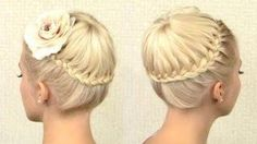 Hairstyle - Circle crown braid tutorial for medium long hair French braided updo for events