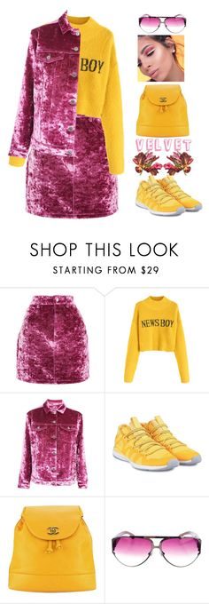 """crushing on velvet"" by katymill ❤ liked on Polyvore featuring Topshop, adidas, Chanel, Chrome Hearts, velvet and crushing"