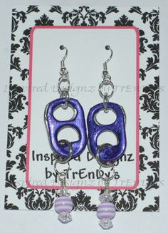 Upcycled Soda Pop Aluminum Can Pull Tab Shocking Electric Purple Dangling Earrings by InspiredDesignzByJK
