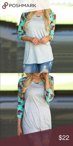 "🌺 Floral Long Sleeve Top 🌺 🌺Floral Print Long Sleeve Top🌺  Gray top with teal and pink flowers on sleeves Cotton material   ✨Bust: 36"" ✨Length:27""  PLEASE PAY ATTENTION TO MEASUREMENTS Bewitched Boutique Tops Tees - Long Sleeve"