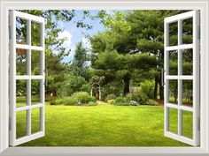 """Amazon.com - High Quality Removable Wall Sticker / Wall Mural -Beautiful Garden View out of the Open Window Creative Wall Decor - 36""""x48"""" -"""