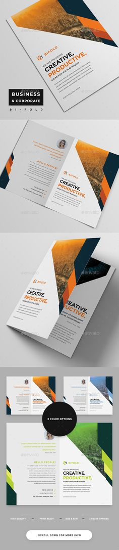 Corporate BiFold Brochure — Photoshop PSD #bi-fold #official • Download ➝ https://graphicriver.net/item/corporate-bifold-brochure/19278955?ref=pxcr