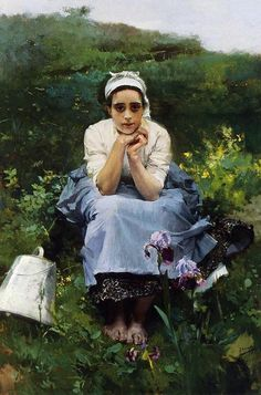 19thcenturyart: Joaquin Sorolla y Bastida The Milkmaid private collection