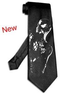 spiderman tie satin silk BLACK hero spider man necktie Silver Image