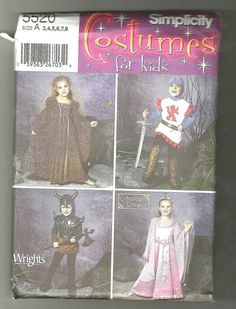 Simplicity 5520 Sewing pattern Kids Medieval by NoodlesNotions, $7.00