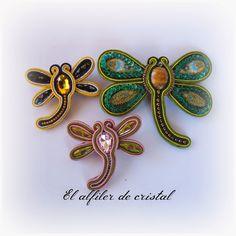 El alfiler de cristal Soutache Earrings, Shibori, Hummingbird, Fiber Art, Jewerly, Ribbon, Butterfly, Beads, Diy