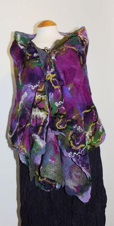 Nuno felted silk scarves  Purple pink wool felt & by Angelab5705