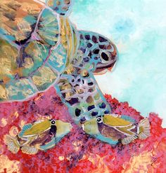 Reverse Acrylic Sea Turtle and Two Fish Painting by by kauaiartist