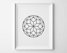Geometric Circle Print, Modern Bedroom Decor, Modern Art, Black Diamond Faceted Circle, Geometric Art, Black and White Bedroom Art