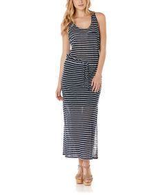 Navy & White Stripe Maxi Dress
