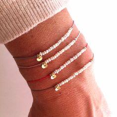 Kleine Perle auf Seide - Edelstein Freundschaft Armband - Heilung Crystal Absicht: 'Purity'