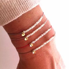 Tiny Pearl on Silk - Gemstone Friendship Bracelet - Healing Crystal Intention: ' Purity'