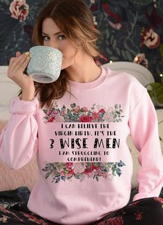 3 Wise Men Funny Christmas Sweatshirt, Funny Christmas Jumper, Gift For Christmas, Christmas Present, Women's Christmas Sweatshirt. Fun Christmas Jumpers for Mum. Funny Christmas Jumpers 2020. Christmas at Home ideas. Christmas in Lockdown outfits. Best Christmas Jumpers.
