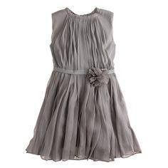 Girls' crinkle chiffon rosette dress
