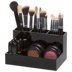 Black Acrylic Brush Holder Makeup Organizer