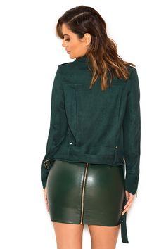 Clothing : Skirts : 'Piera' Evergreen Vegan Leather Mini Skirt