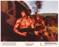 Rambo: First Blood Part II - Lobby card with Sylvester Stallone. The image measures 3919 * 3150 pixels and was added on 1 January Rambo 2, Sylvester Stallone Rambo, Silvester Stallone, Charles Bronson, First Blood, 80s Movies, The Expendables, Karate, Cinema