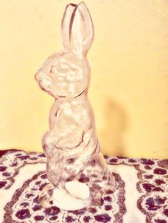 Vintage Clear Plastic Bunny Candy Container $20.00