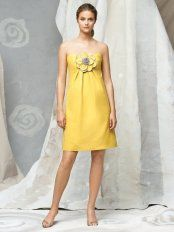 Yellow Empire Strapless Zipper Knee Length Prom Dresses With Flowers