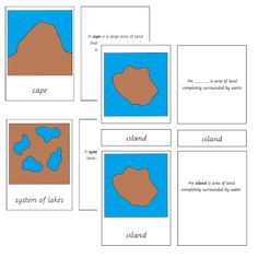 Land and water form cards with definitions