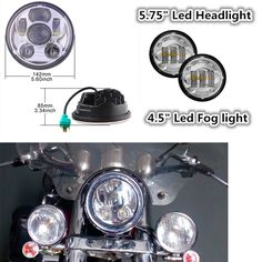 85.00$  Buy now - http://alio7b.worldwells.pw/go.php?t=32780257219 - for Harley Dyna Fat Bob Street Glide 5-3/4 5.75 Round LED Projector Daymaker Headlight 4.5 Auxiliary Led Fog Driving spot light  85.00$