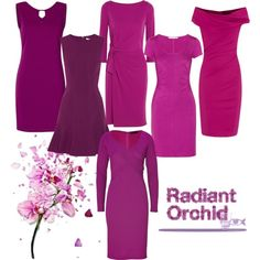 This is the color of 2014 ladies! Radiant Orchid Dress Silhouettes, created by trinilove on Polyvore