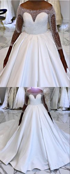 Amazing ball gown princess wedding dress satin with beaded sleeves Wedding Dresses Near Me, Princess Wedding Dresses, Elegant Wedding Dress, Wedding Dress Styles, Modest Homecoming Dresses, Prom, Lace Mermaid Wedding Dress, Bridal Outfits, The Dress