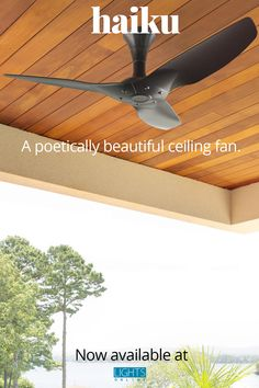 The Haiku collection of ceiling fans offers a poetically beautiful and award-winning look that is sure to improve any space. It's made from aircraft-grade aluminum, so it's designed to last, and it can be controlled by either the included remote OR an Alexa or Google Home. Haiku comes in many finishes as well as options that can be used outdoors. Haiku is now available at LightsOnline! #BigAssFans #CeilingFans #OutdoorCeilingFans Outdoor Ceiling Fans, Lighting Online, Haiku, Indoor Outdoor, Remote, Aircraft, Outdoors, Lights, Space