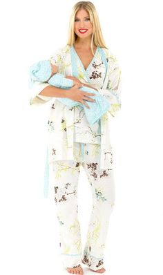 The Olian Nursing PJ Set w/ matching Baby Outfit (Large, Blue Print) Soft & Comfy Robe pajama sleeveless cross front nursing top w/baby gown & hat for Mom & Baby cotton-machine wash cold Nursing Pajama Set, Maternity Nursing Pajamas, Maternity Sleepwear, Maternity Outfits, Maternity Style, Maternity Fashion, Pijamas Women, Baby Gown, Pregnancy