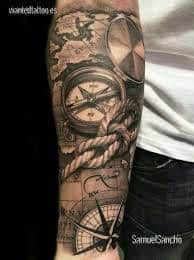What does pirate tattoo mean? We have pirate tattoo ideas, designs, symbolism and we explain the meaning behind the tattoo. Tattoo Sleeve Designs, Tattoo Designs Men, Sleeve Tattoos, Pirate Tattoo, Cool Forearm Tattoos, Forearm Tattoo Design, Compass Tattoo Forearm, Compass And Map Tattoo, Map Compass
