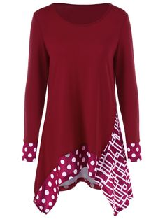 Polka Dot Geometric Print Tunic T-Shirt