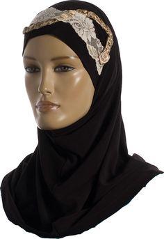 Hijab Two Piece - Black - Design http://www.muslimbase.com/clothing/hijabs/two-piece-hijab/hijab-piece-black-design-p-3715.html