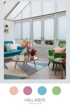Conservatories can be tricky to window dress, from unsual shapes to wide or narrow expanse, but our experts can find a solution to suit you no matter what, with our specialist Pleated blinds for conservatories. Here in this modern contemporary conservatory Resume Grey Pleated blinds and Highgrove White Pleated blinds create a contrast against this colourful space. View more of our conservatory blind options. Window Dressings, Modern Contemporary, Blinds, Conservatory Ideas, House Design, Conservatories, Interior Design, Resume, Contrast