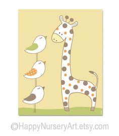 Nursery giraffe art, baby room decor, animals, birds, unisex, yellow nursery wall art, children decor. $15.00, via Etsy.