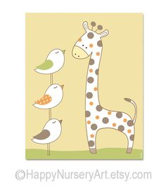 Nursery giraffe art, baby room decor, animals, birds, unisex, yellow nursery wall art, children decor. $15.00, via Etsy.
