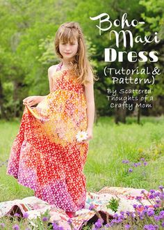 Summer's here! Use this free Boho Maxi Dress Pattern and tutorial to make your daughter a maxi dress she will love.