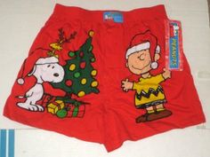 Peanuts Gang Large 36-38 Christmas Boxer Shorts Underwear Red Woodstock Snoopy Charlie Brown NWT $10