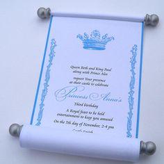 Royal princess birthday invitation scroll, silver and blue, set of 10