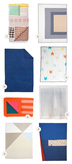 Modern handmade quilt round-up, the perfect gift for a mama-to-be! See sources on 100 Layer Cakelet