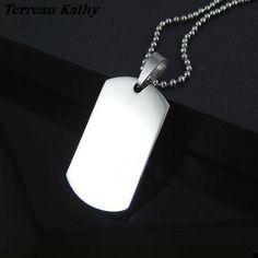Terreau Kathy 2016 New Fashion Top Quality Titanium Stainless Steel Soldier Card Dog Tag Women/Men Pendant Necklace