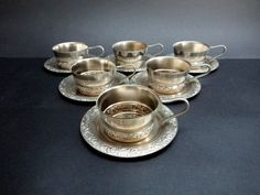 Vintage Set of 6 Tea Glass Holders with by GuestFromThePast