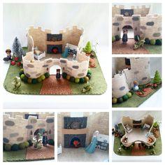 Large Fairytale Castle Playscape wool felt play mat imagination storytelling storybook pumpkin patch dollhouse peg doll princess imagination by MyBigWorld2015 on Etsy