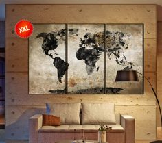 Hey i found this really awesome etsy listing at httpsetsy world map black white canvas wall art print prints on canvas large world map black white gray art work artwork office decor gumiabroncs Gallery