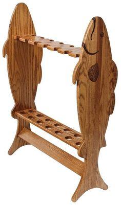 Amish Hardwood Large Fishing Rod Rack #FishingRod