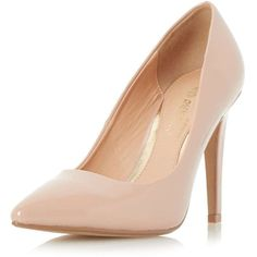 Dorothy Perkins **Head Over Heels 'Addyson' Nude Court Shoes ($54) ❤ liked on Polyvore featuring shoes, pumps, heels, white, white shoes, heels stilettos, pointed toe pumps, white pointy-toe pumps and stiletto heel pumps