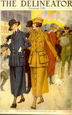 Official Yeowoman's Costume of the US Navy 1101 Delineator, November 1918. Commercial Pattern Archive, University of Rhode Island. Joy Emery explores the development of US service uniforms and the introduction of women's trousers during the First World War in her authoritative A History of the Paper Pattern Industry (Bloomsbury, 2014). #fashion #WW1