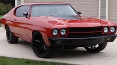 70 chevelle red and black. camaro concave split wheels ls motor  Resto Mod 454/585 HP, 6-Speed