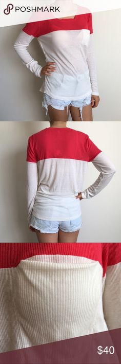 NWT Splendid Long Sleeve Color Block Top Splendid thermal long sleeve top. White and red color. Decorative pocket at the chest. Small . 50% Polyester 50% Rayon Splendid Tops Tees - Long Sleeve