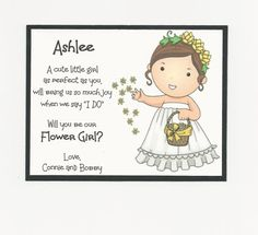 Items similar to BRUNETTE Ashlee- Will you be my Flower Girl Flat card - Personalized custom on Etsy Bridal Party Invitations, My Flower, Flowers, Wedding Favor Tags, Cute Little Girls, Flat, Cards, Etsy, Colors