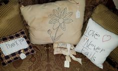 Made with a lot of Grayson Love! We only have a few of Miss Eddy's primitive pillows left! They're priced from $5.50 to $15.
